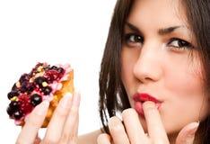 Woman With Cake Stock Photos