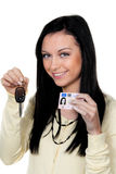 Woman With Car Keys And Drivers License. Driving Royalty Free Stock Photo