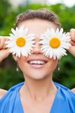 Woman With Chamomile Royalty Free Stock Photography