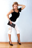 Woman With Clutch Bag Royalty Free Stock Photos