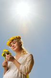 Woman With Dandelion Flowers Royalty Free Stock Photography