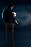 Woman With Depression Sit On Chair Royalty Free Stock Photo