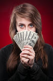 Woman With Dollar Notes Royalty Free Stock Photo