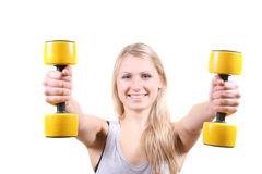 Woman With Dumbbells In Her Hands Royalty Free Stock Photo