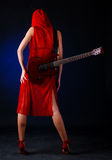 Woman With Electric Guitar Stock Images