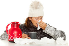 Woman With Fever Royalty Free Stock Photo