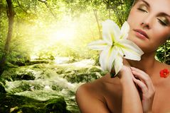 Free Woman With Flower In Forest Stock Photos - 8551443