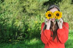 Woman With Flowers Stock Photo
