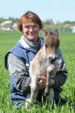 Woman With Foal Pony Stock Photography