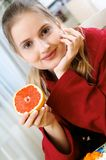 Woman With Fruit Royalty Free Stock Photography