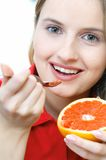 Woman With Fruit Stock Images