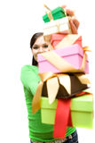 Woman With Gift Stock Photos