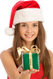 Woman With Gift. Focus On Face. Royalty Free Stock Image