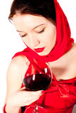 Woman With Glass Red Wine Stock Photo