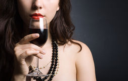 Free Woman With Glass Red Wine Royalty Free Stock Photos - 20379518