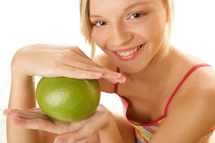 Woman With Grapefruit Royalty Free Stock Image