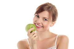 Free Woman With Green Apple Stock Photos - 11134283