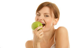 Free Woman With Green Apple Royalty Free Stock Photos - 11134478