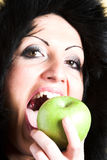 Woman With Green Apple Royalty Free Stock Photos