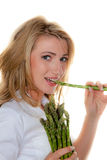 Woman With Green Asparagus Stock Photos