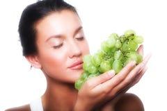 Woman With Green Grape Stock Photos