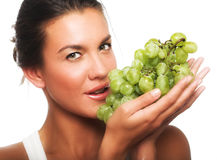 Woman With Green Grape Stock Photos