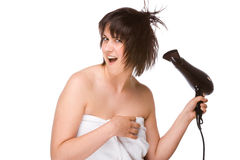 Free Woman With Hairdryer Royalty Free Stock Photo - 12321335