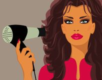 Free Woman With Hairdryer Royalty Free Stock Image - 19463246