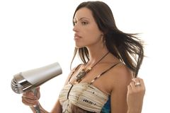 Free Woman With Hairdryer Stock Photo - 733410