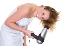 Free Woman With Hairdryer Royalty Free Stock Image - 9346356