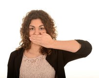 Free Woman With Hand Over Mouth Royalty Free Stock Image - 38324706