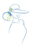 Woman With Hat And Flower Stock Photo
