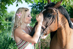 Woman With Horse Stock Image