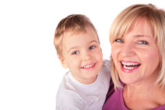 Woman With Kid Faces Close-up 2 Stock Image