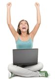 Woman With Laptop Winning With Success Royalty Free Stock Photography
