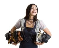 Woman With Many A Purses Stock Image