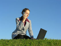 Woman With Noteboock And Phone Royalty Free Stock Photos