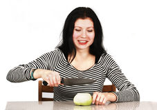 Woman With Onion Smiling Stock Image