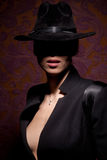 Woman With Open Lips In Black Hat Stock Image