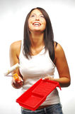 Woman With Paint Roller Stock Images