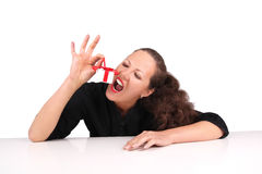 Woman With Present Box Royalty Free Stock Images