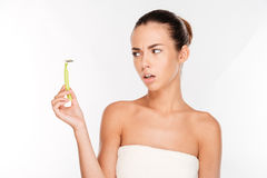 Free Woman With Pure Skin Holding Razor Blade Preparing To Shave Royalty Free Stock Photography - 80332937