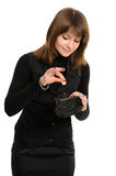 Woman With Purse And Money Royalty Free Stock Photography