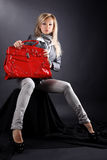 Woman With Red Bag Royalty Free Stock Photography