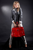 Woman With Red Bag Stock Photo