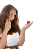 Woman With Red Gift Box Stock Image