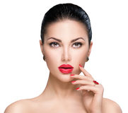 Woman With Red Lipstick And Red Nails Royalty Free Stock Photos