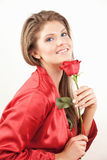 Woman With Red Rose Royalty Free Stock Images