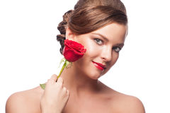 Woman With Red Rose Stock Image