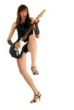 Woman With Rock Guitar Stock Photography